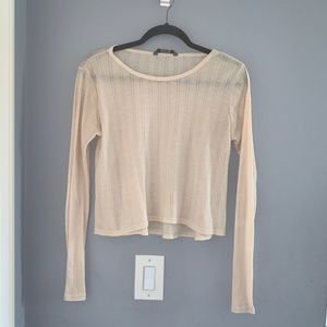 rubbish thin cream knit comfortable long sleeve